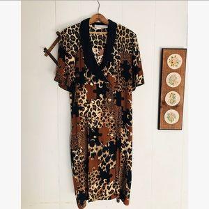 Vintage Leopard Print Day Dress